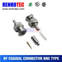 bnc male connector for cables, crimp bnc adapter, bnc for rg174/179, china supplier cable joints