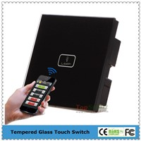 UK Standard 1 Gang Remote Control Light Touch Switch With Tougned Glass Panel