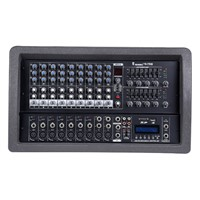 9 channel Plastic Box Powered Mixer with USB, SD, LCD Display