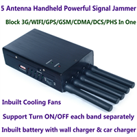 5 Antenna Handheld High Power Cell Phone Jammer Blocking 3G WiFi GPS GSM CDMA DCS PHS Signal