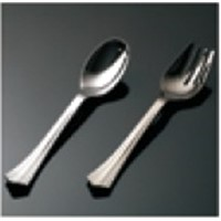 Disposable plastic heavy silverware include PS spoon and fork