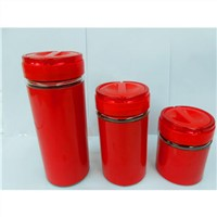 3-piece glass canister set with handle