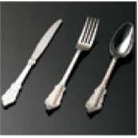 High class PS disposable silver coated plastic cutlery include knife, fork and spoon