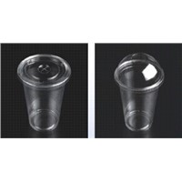 20oz/600ml PET Clear disposable cups with dome&flat lid for juice drinking, 98*61*140mm