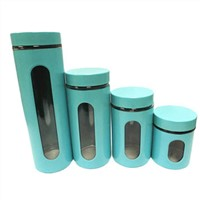 Glass canister set with blue metal coating
