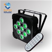 Rasha 9pcs*15W 5in1 RGBAW Battery Powered Wireless LED Par Light with IR Wireless Remote Control