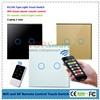 EU/UK Standard 2 Gang Wi-Fi or RF Remote Control Light Touch Switch With Crystal Glass Panel