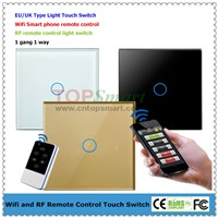 EU/UK Standard 1 Gang Wi-Fi Or RF Remote Control Light Touch Switch With Glass Panel