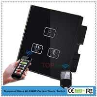 UK Standard 3 Gang 1 Load Wi-Fi&RF Curtain Remote Touch Switch With Toughened Glass Panel