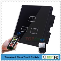 UK Standard 3 Gang 1 Load Wi-Fi&RF Remote Control Light Dimmer Switch With Crystal Glass Panel