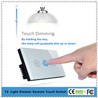 US/AU Standard Remote Control Light Dimmer Touch Switch With Tempered Glass Panel