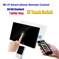 US/AU Standard 1 Gang Wi-Fi Or RF Remote Control Light Touch Switch With Tempered Glass  Panel