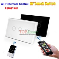 US/AU Standard Remote Control Light Touch Switch With Toughened Glass Panel And LED Backlight