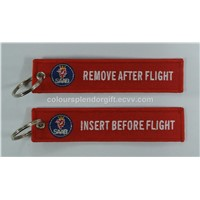 Wholesale Saab Insert Before Flight Remove After Flight Red Embroidery Keychain