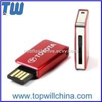 Metal Slim Side Sliding USB Storage Pen Drive Product with Logo Printing