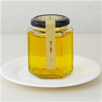 180ml hexagonal glass Jar storage Jar with metal lid