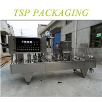 Automatic small 4 heads plastic cup filling and sealing machine for water, yogurt, soybean milk