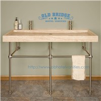 High quality Metal-Wrapped Single Vanity Base with steel legs