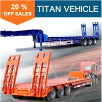 Titan used tri axle loading 60-100ton capacity gooseneck lowboy trailers for sale