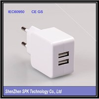 2 port USB desktop charger, tablet charger, desktop travel charger 5 v 2.1a power supply