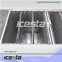 Icesta block ice machine brine cooling and direct refrigeration cooling