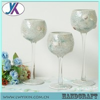 Tall glass mosaic crystal globe candle holder