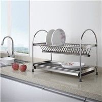 Free Standing Dual-tier Dish Rack with Draining Plate