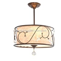 2016 JUHO Chandelier Light New Item Bronce with 3 Lights Flaxen Fabric Drum Shade Crystal HC1008-3