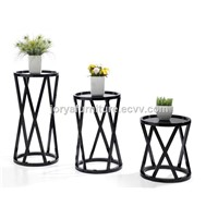 Modern hollow-out solid wood flower shelf high gloss corner table side table console table