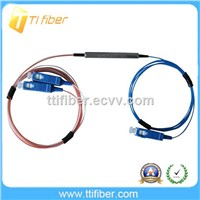 1*2 mini type steel tube FBT Fiber Optic Splitter/ copuler with SC connector