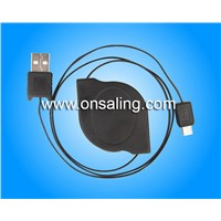 BP-E0004-GR Retractable usb data cable with strain relief for smart phone