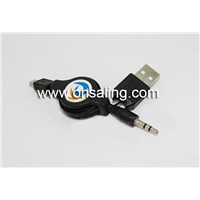 Retractable USB cable MINI 5P TO USB A/M+DC 3.5