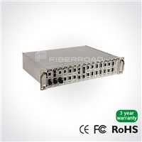16 Slots Rack Managed Media Converter System AC 220V+AC 220V