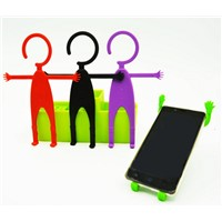 Cute men human shaped elastic silicone phone holder stand