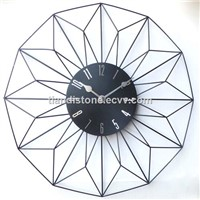 Metal Wire Circular Shape Wall Quartz Clock for Home Decoration