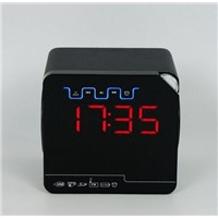 New Wood Bluetooth Desktop Speaker With Remote Big Screen Led Clock and FM Radio KL-A6B