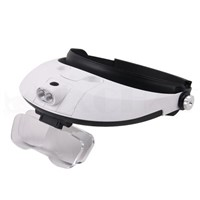 Adjustable head-mounted magnifier (White)