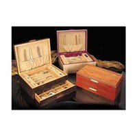 Wooden Jewelry Cabinet with Necklace Hooks Ring Rolls, Velvet Lining Great Gift for Wemen & Men