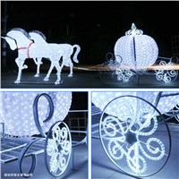 L:6m W:2m H:2.3m LED Carriage with Horses Christmas Decoration Lights