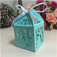 White Mr&Mrs Laser Cut Candy Gift Boxes With Ribbon Wedding Party Favor Creative Favor Boxes