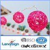 Cixi Landsign Solar Sun Powered WHITE Rattan Ball LED Fairy Lights 20 Light Wicker Cane Balls