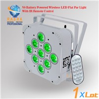 Rasha 9pcs*18W 6in1 RGBAW UV Battery Powered Wireless LED Flat Par Light With IRC Remote Control