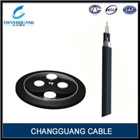 FRP strength member bow type drop fiber optic cable for duct