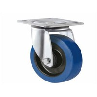 Blue elastic rubber caster wheel swivel or fixed or swivel with brake