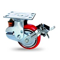 PU heavy duty trolley spring loaded casters