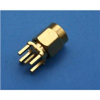 RF Connector, SMA Straight PCB Plug, 50 Ohm