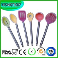 Premium Kitchen Utensils 6 Piece Set Non-stick Silicone Ladle Slotted Turner Spoon Spatula