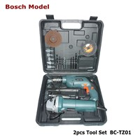 2pc impact drill and angle grinder power hand tool set