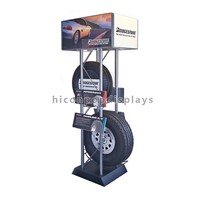 New invention metal advertising double layer car wheel display stand