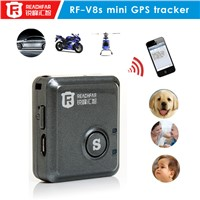 Coin size mini gps tracker for car with sos alarm vibration alarm rf-v8s